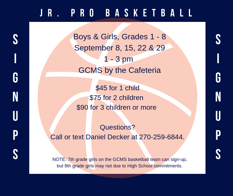Jr Pro Basketball Sign-ups in September