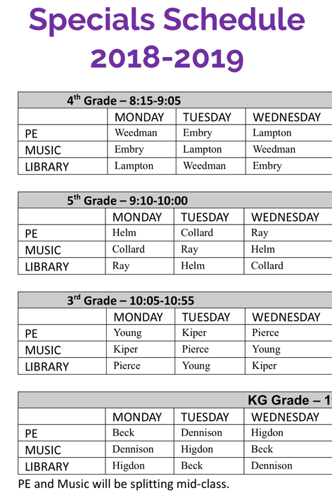 4th, 5th, 3rd & KG Schedule