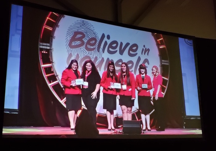 Maya Vaughn and Erika Khan on stage at FCCLA