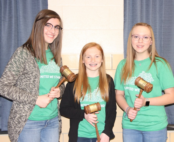 Payton Abney, CJ Johnston and Bailey Richardson with Governor's gavels