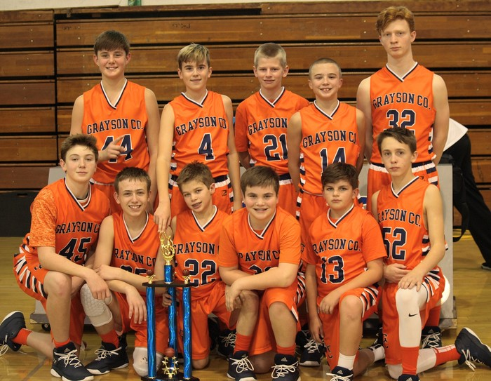 GCMS 7th Grade Boys Basketball Team with Tourney Trophy