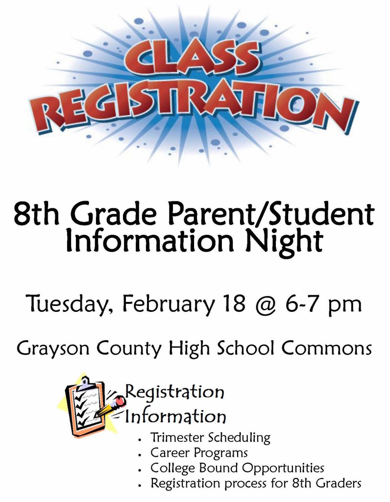 8th grade info night, Feb 18, 6 pm at GCHS