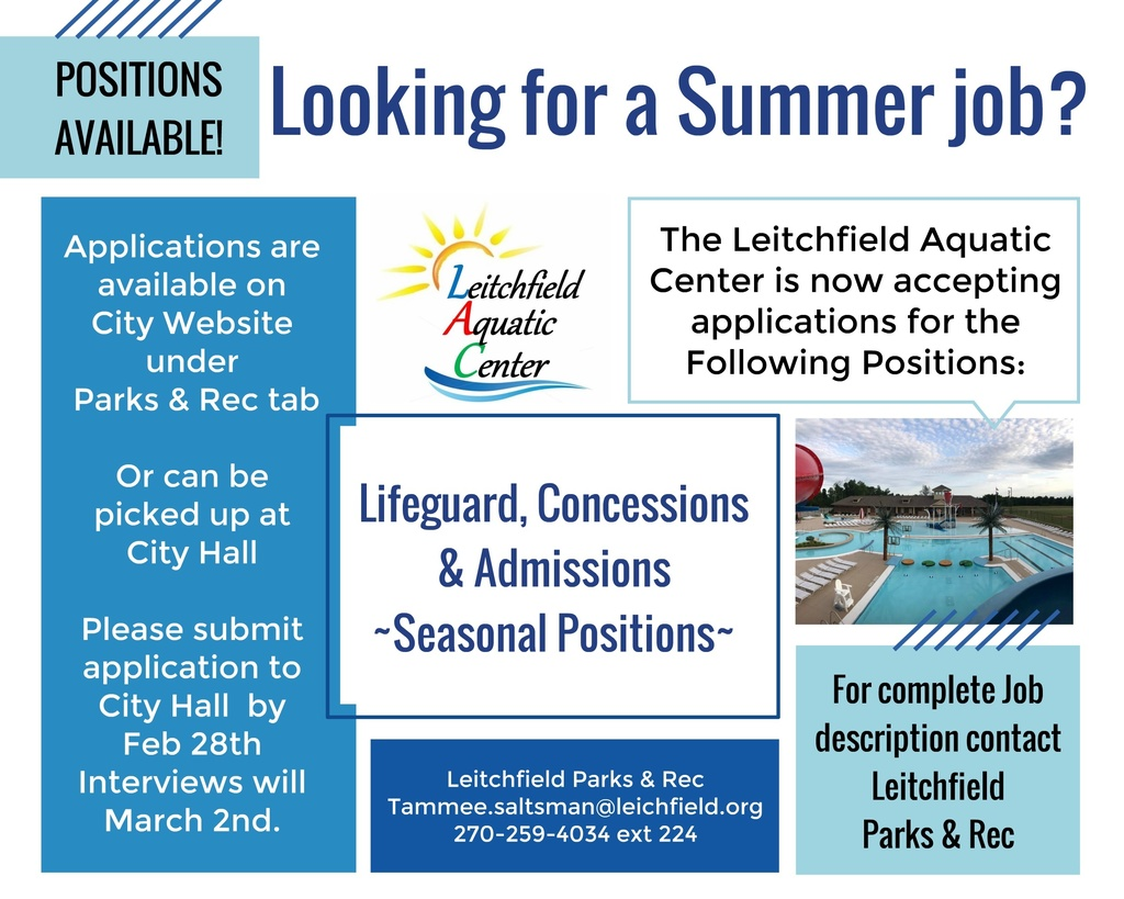 summer parks & rec jobs call 2702594034, ext 225