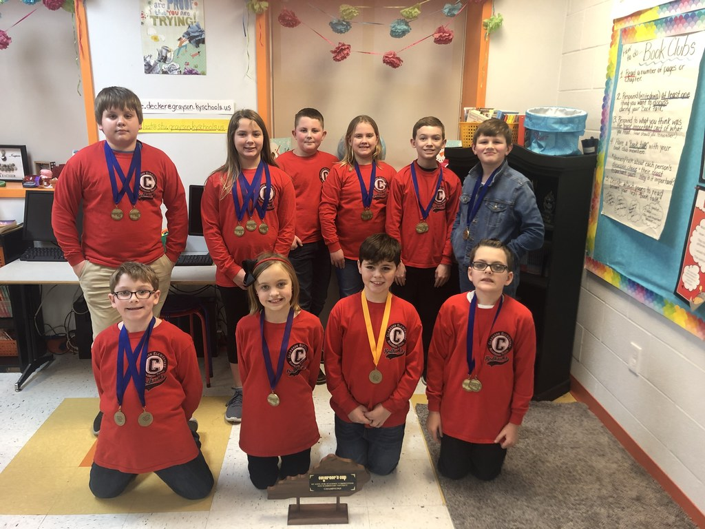 Clarkson Academic Team, back (l – r): Elijah Barnett, Piper Mangan, Owen Phillips, Elizabeth Barrett, Asa Bratcher, and River Anderson. Front: Tyler Hodges, Autumn Brown, Aidan Moore, John Hatfield