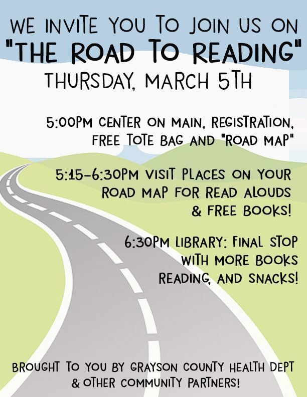 Road to Reading Event, March 5, 5 pm Centre on Main