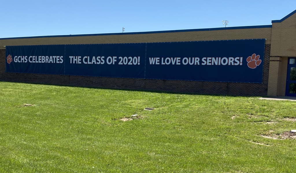 Class of 2020 banner on front of GCHS