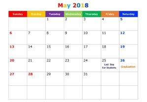 Decorative May 2018 calendar
