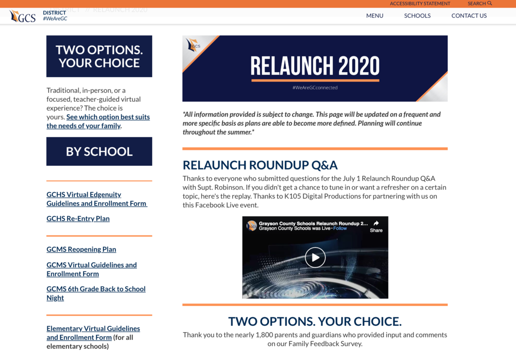 Sample of Relaunch 2020 Webpage