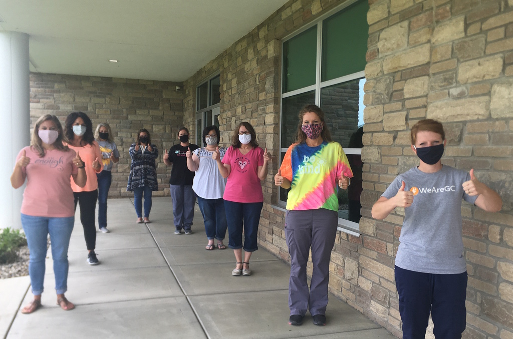 GCS Nursing Staff with Masks on and Thumbs Up